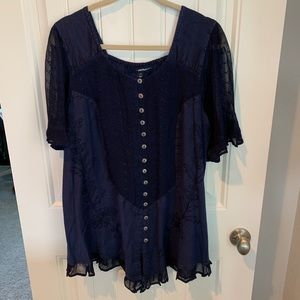Denim 24/7 tunic blouse lace indigo size 14w